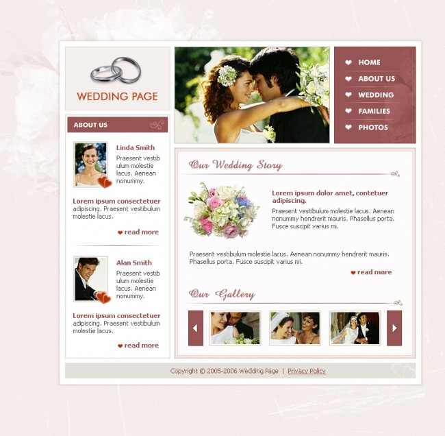 Wedding PSD шаблон для uCoz